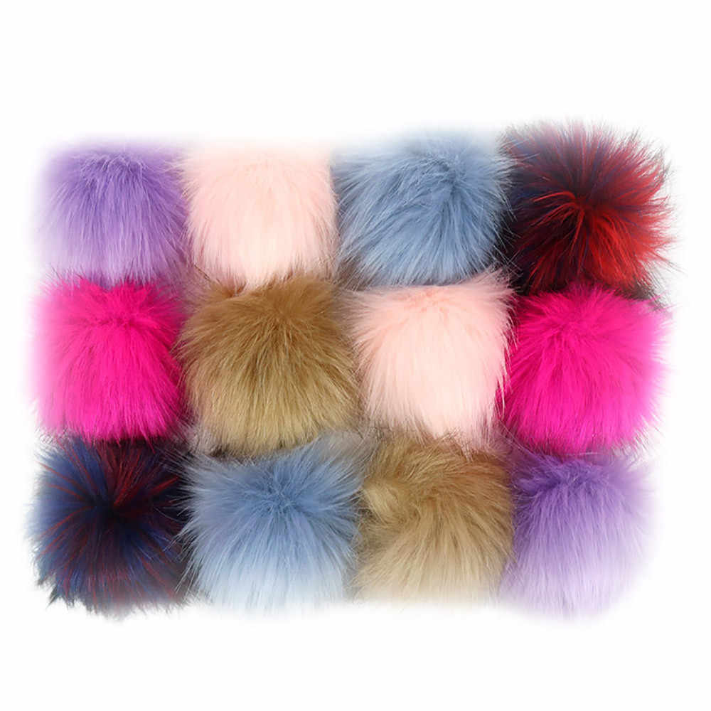 2019 NEW 12pcs Faux Fox Fur Pom Pom With Press Button Removable Knitting Hat Accessories 3.5
