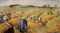 Hand Painted Landscape Canvas Wall Painting The Harvest, 1882 by Camille Pissarro Oil Painting for Christmas Home Deocration