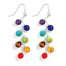 Brincos 2016 Vintage Fashion Silver Plated  Bead 7 Chakra Healing Balance Drop Earrings Party Earrings for Women Jewelry Mujer
