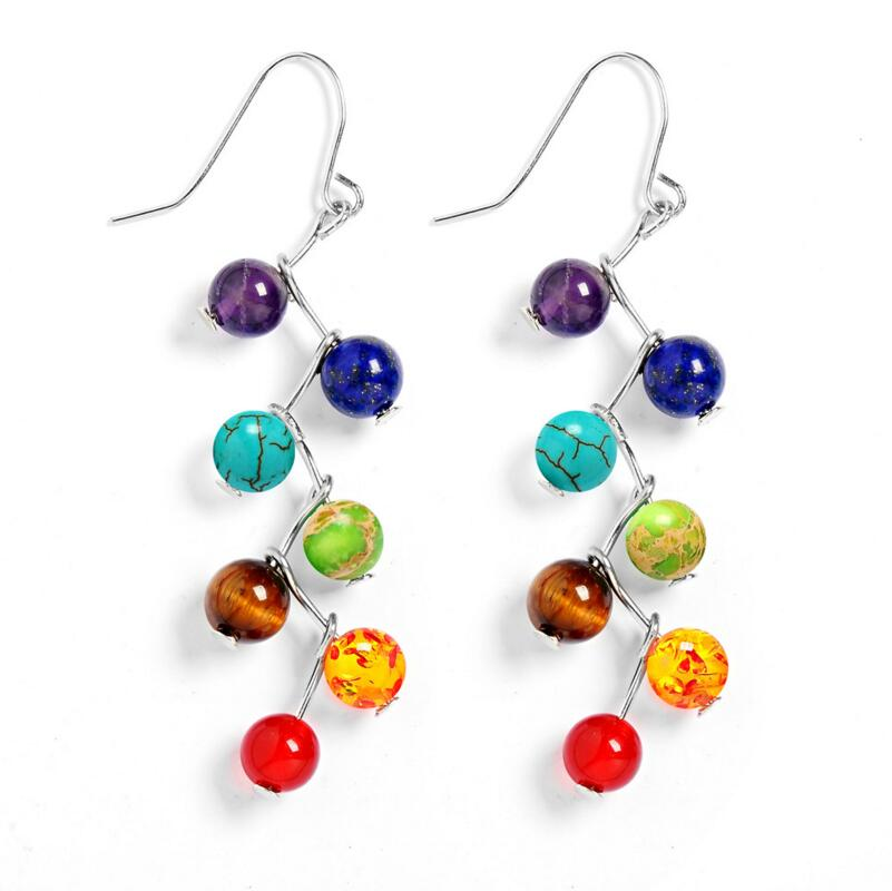 DIEZI Brincos Vintage Fashion Silver Plated Bead 7 Chakra Healing Balance Drop Earrings Party Earrings for