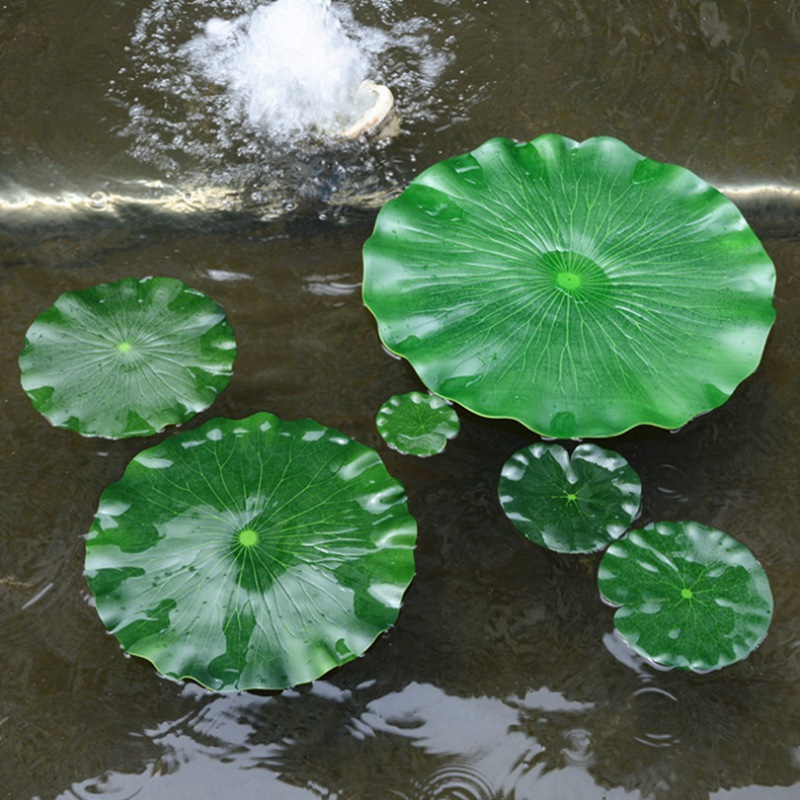 1PC Artificial Fake Lotus Leaf Simulation Water lily Leaf Floating Flower Garden Pool Pond Plant Ornament Home Decoration(China)