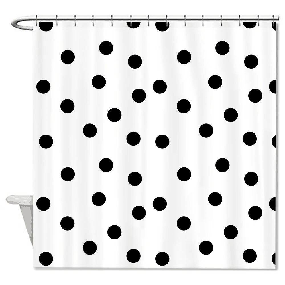 Black bathroom shower curtains - Modern Design Shower Curtain Dots Black White Waterproof Polyester Fabric Bathroom Shower Curtains High Quality Eco