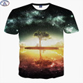 Mr.1991 brand galaxy and tree 3D t-shirt for boys  New 2017 summer style hip-hop teens t shirt big kids tops Hot sale A41