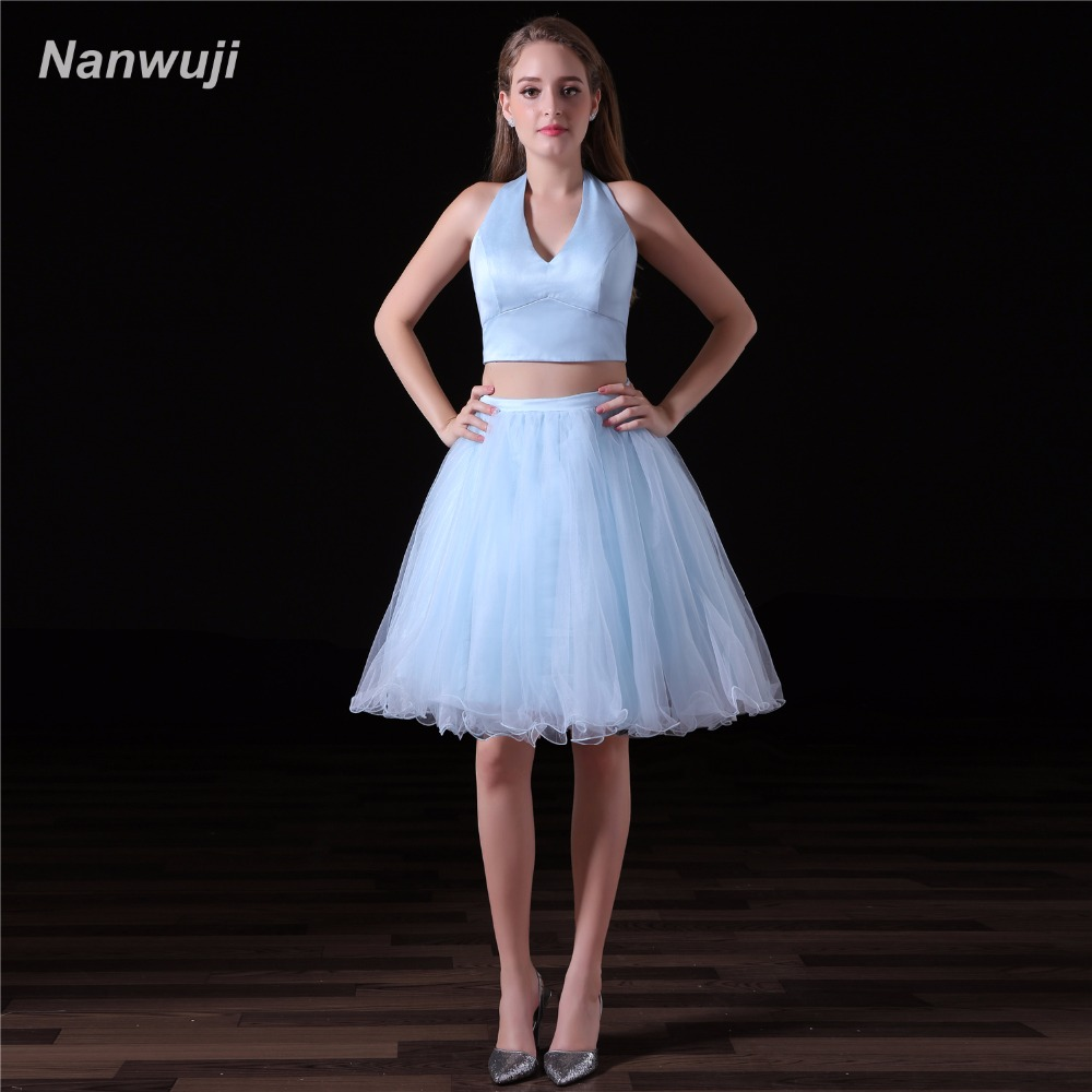Sky Blue 2018 Homecoming   Dresses   A-line V-Neck Two Pieces Tulle Beaded Lace Sparkly Short   Cocktail     Dresses