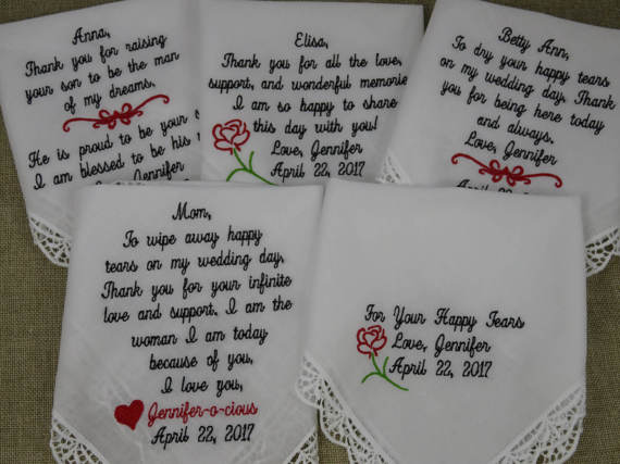 Wedding Handkerchiefs For The Family: Personalized SET Of 5 Embroidered Wedding Handkerchiefs