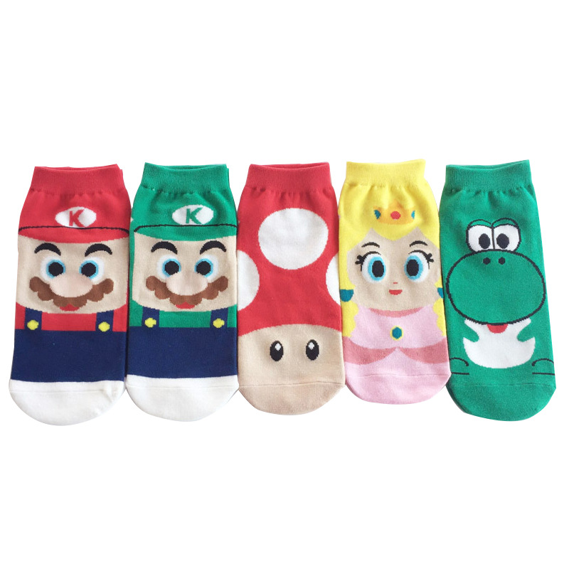 2019 New Cartoon Super Mario Cotton Soft Spring Summer Socks Mario Luigi Yoshi Princess Peach Mushroom Kids Socks