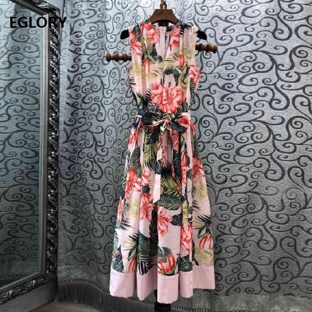 Top Quality Dress 2019 Summer Style Women V-Neck Green Leaves Pink Flower Print Sleeveless Mid-Calf Length Silk Cotton Dress