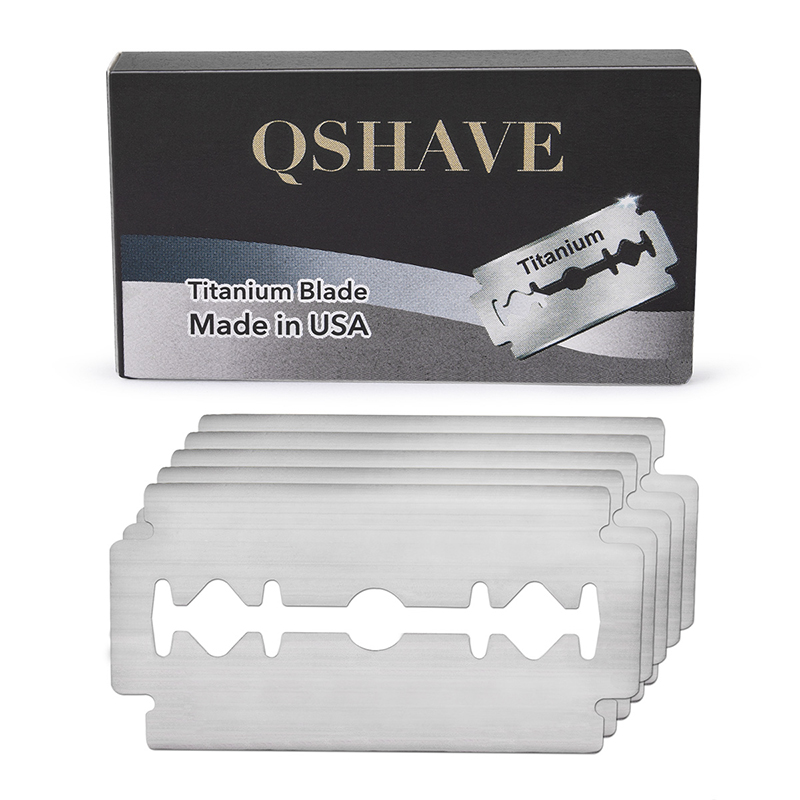 Qshave Double Edge Safety Razor Blade Straight Razor Titanium Blade Classic Safety Razor Blade Made In USA, 10 Blades