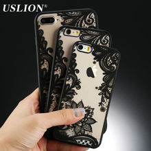 Sexy Retro Floral Phone Case For Apple iPhone 7 6 6s 5 5s SE Plus Lace Flower Hard PC+TPU Cases Back Cover Capa For iPhone7Plus(China)