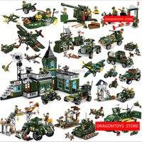 Compatible LegoINGlys blocs De Construction Militaire guerre armes Réservoir Bomber Camion poste de Commandement Canon Antiaérien figurines brique jouets
