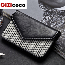 Big Capacity Business Name Card Holder Credit Card Holder Fashion Unisex PU Leather Solid Visit Card Case Metal Wallet bovis 8019 1 fashion man s pu credit name card wallet w slots buckle light coffee