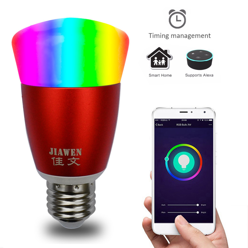 JIAWEN Smart Home Wireless WIFI E27 LED Bulb Timer Switch Remote Control Work for Amazon Alexa Voice APP By Phone wireless wifi switch smart home automation module timer diy light wall switch app control work with amazon alexa voice control