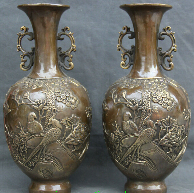 Zm 13 Chinese Dynasty Palace Copper Peacock Bird Flowers Handle