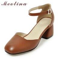 Meotina Kadın Pompaları Ayak Bileği Kayışı Kalın Topuk Kadın Ayakkabı Kare ayak Orta Topuklu Elbise Iş Rahat Bayan Ayakkabı Pompaları Boyutu 34-43