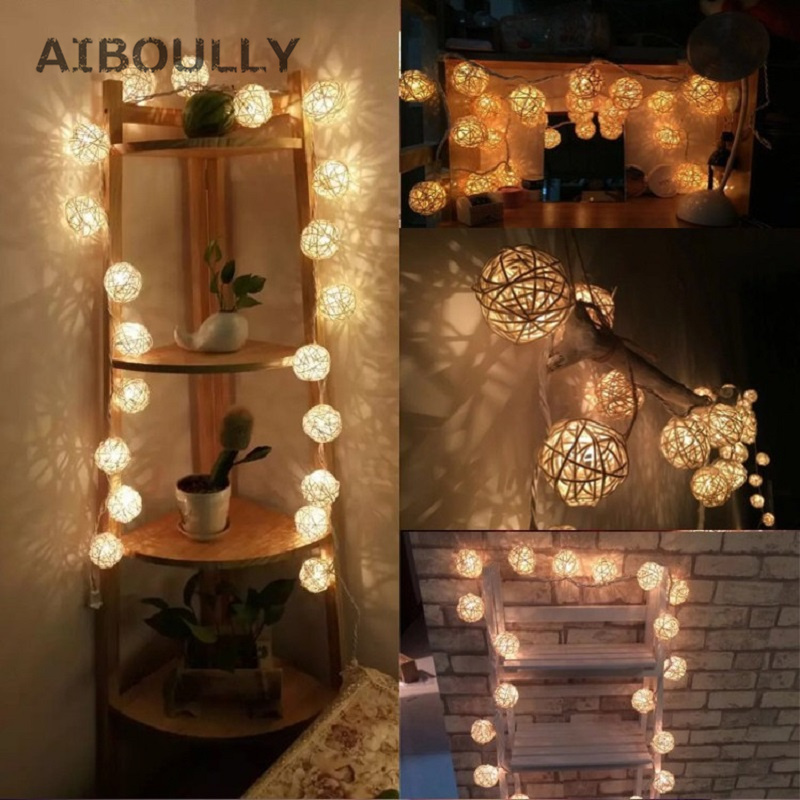 2.5m 20pcs Festival LED Battery Rattan Ball Garland Light String Fairy Lamp DIY Wedding Party Xmas new Year gifts Decoration