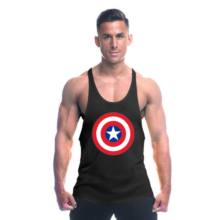 Muscleguys Captain America gyms clothes bodybuilding stringer   tank     top   men fitness undershirt Weightlifting vest sleeveless   tops