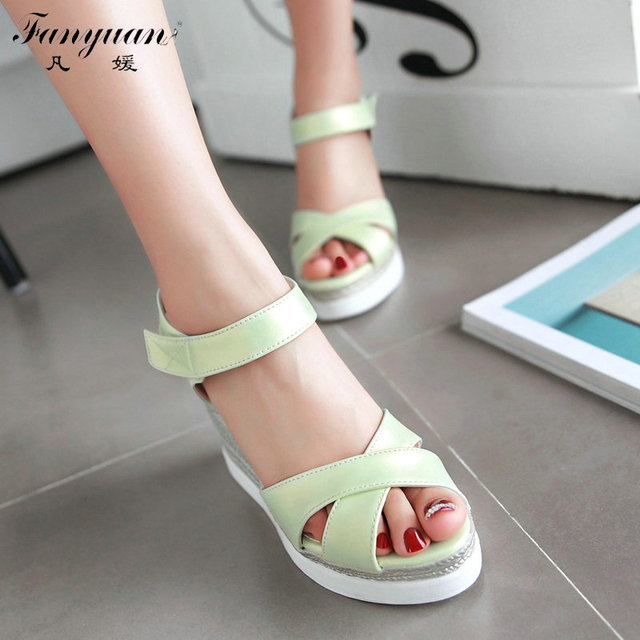 Big Size 34-43 Fashion Summer Women Sandal Wedges High Heels Platform Sandal For Women Sexy Magic Stick Peep Toe Hot Sale