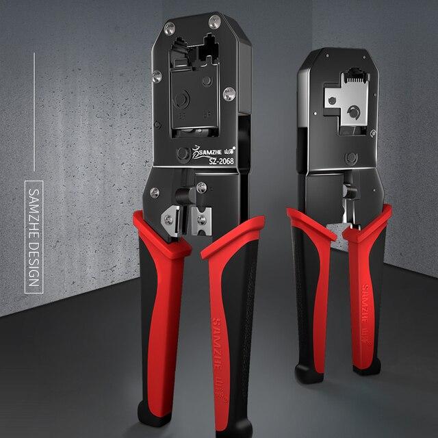 SAMZHE, cortador de cables, pelador automático de cables, herramientas de pelado multifuncionales, alicates de prensado para teléfonos Ethernet 6P/8P