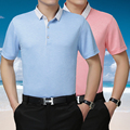 Summer super high quality men business casual plain color short sleeve silk polo shirt