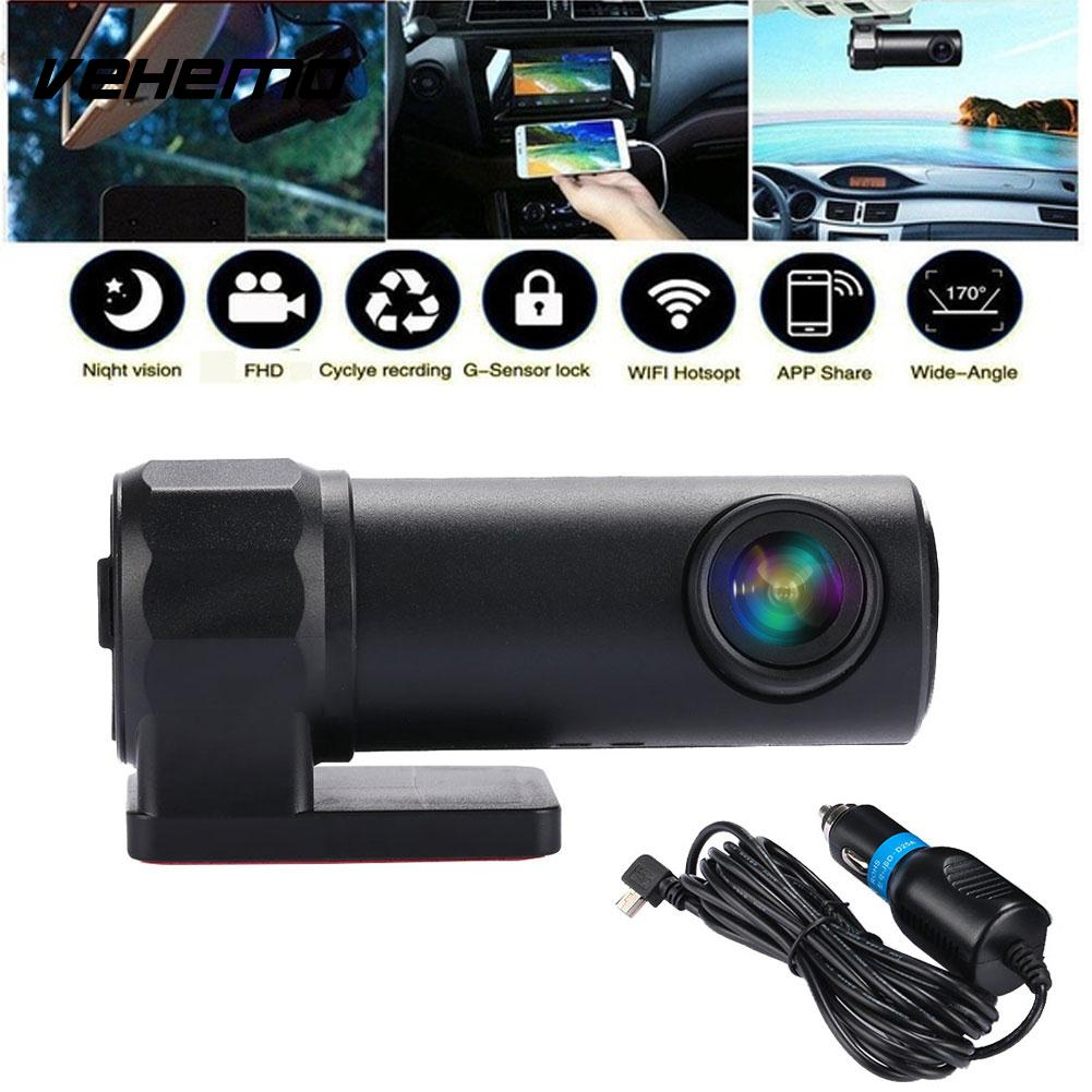 Vehemo HD WIFI DVR Car Windshield Mount Car Camera Premium Driving Recorder G-Sensor Dash Cam