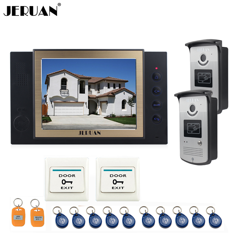 JERUAN 8 inch video door phone doorbell intercom system video recoreding photo taking with  access control system 10 RFID 8 inch video door phone doorbell intercom system home access control system rfid video recoreding and photo storage and playback
