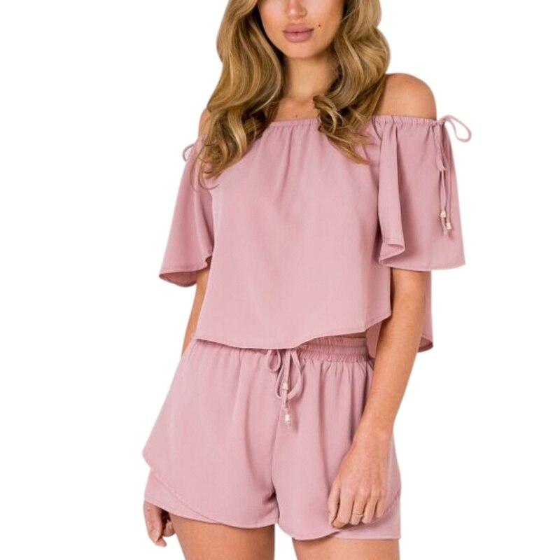 ROPALIA Sexy Chiffon WomenT-Shirt Shorts Pants Set Fashion Summer Casual Lady Set