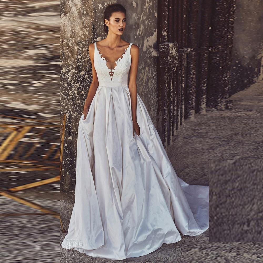 Glam V Neck Backless Appliques Bridal Gowns Vestido De
