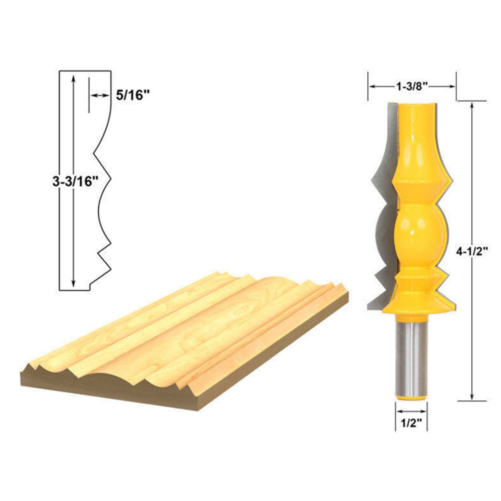 DRELD 1Pc 1/2 Shank 3-3/16'' Reversible Crown Molding Router Bit For Woodworking Milling Cutter Wood Cutting Carpentry Tools jamaica jamaica no problem