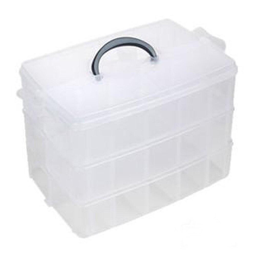 Big size 3 Layer Detachable Lattice Storage Box Plastic Jewelry