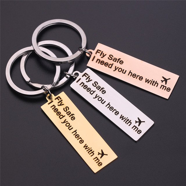 Customized Letter Valentine Gift Engraved Fly Safe Airplane Keychain