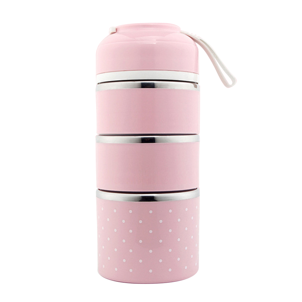 Container Store Lunch Box: Portable Lunch Box Japanese Style Stainless Steel 3 Layer