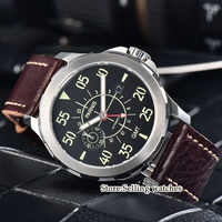 44mm Parnis SS Case Leather Luminous GMT Waterproof Mechanical Automatic Men's Watch