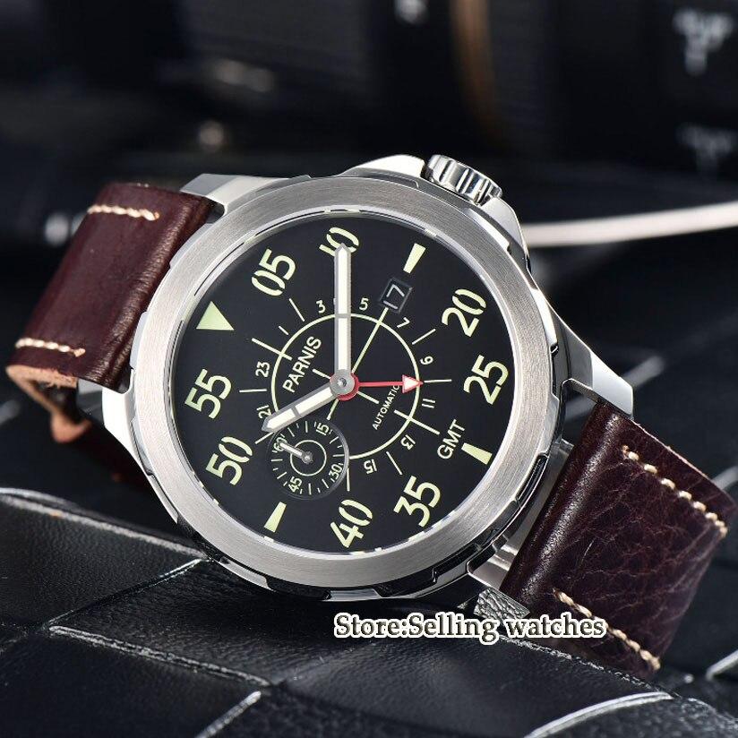 44mm Parnis etui SS skórzany świetlna GMT wodoodporna mechaniczne automatyczne zegarek męski w Zegarki mechaniczne od Zegarki na  Grupa 1