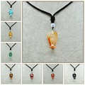 Natural Gemstone Crystal Angel Pendant Maxi Long Necklace Jade Charms Moissanite Lucky Jewelry Tanzanite Obsidian Women Men