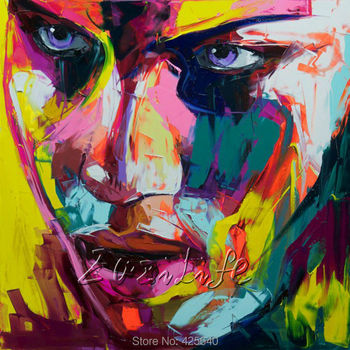 Palette knife painting portrait Palette knife Face Oil painting Impasto figure on canvas Hand painted Francoise Nielly 14-28