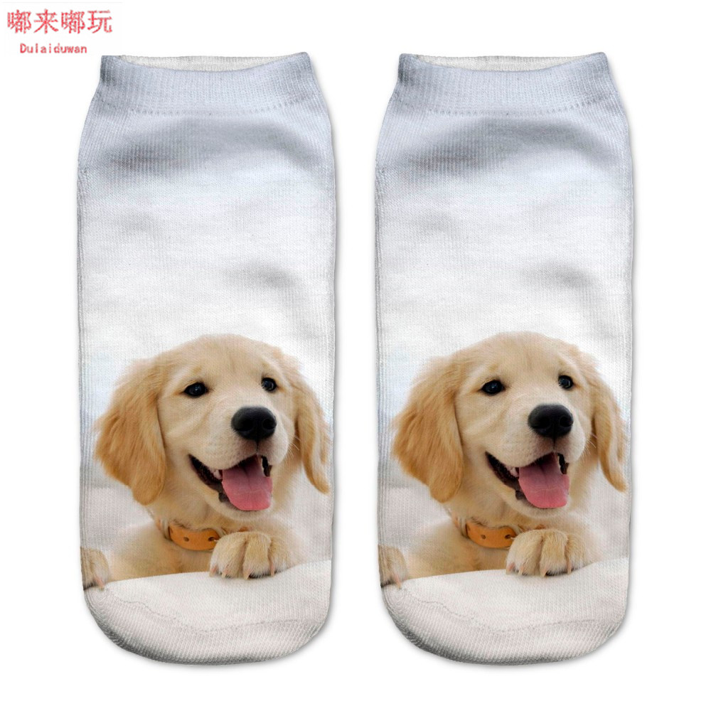 1Pair 3D Dogs Printed Socks White Color For Unisex Cute Low Cut Ankle Cotton