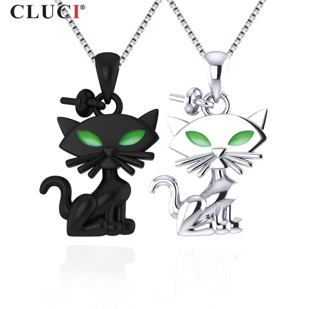 CLUCI  Halloween 925 Sterling Silver Black Cat And White Cat Pearl Pendant & Necklace For Women Pearl Pendant Jewerly