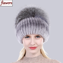 Gorros de piel de conejo Rex para mujer, gorros con pelo de zorro plateado mullido Natural y elástico, para invierno