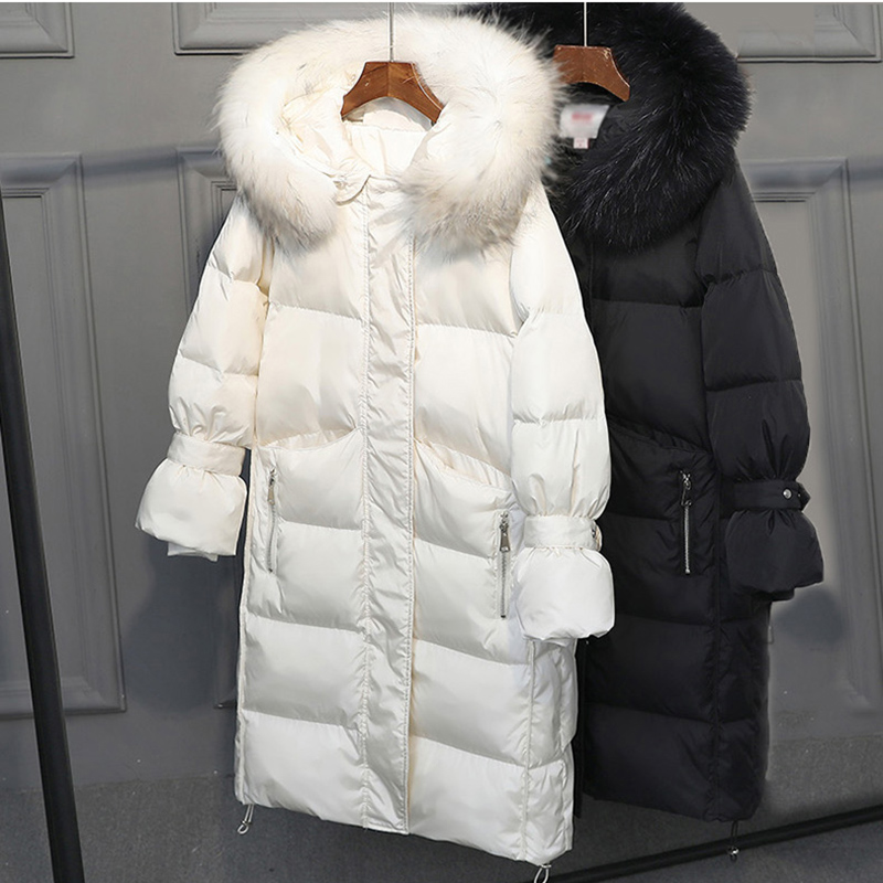Thick Winter Jacket Women Fur Collar   Down     Coat   2019 New Duck   Down   Jacket Hooded Overcoat Long Parka Casaco Feminino LU639
