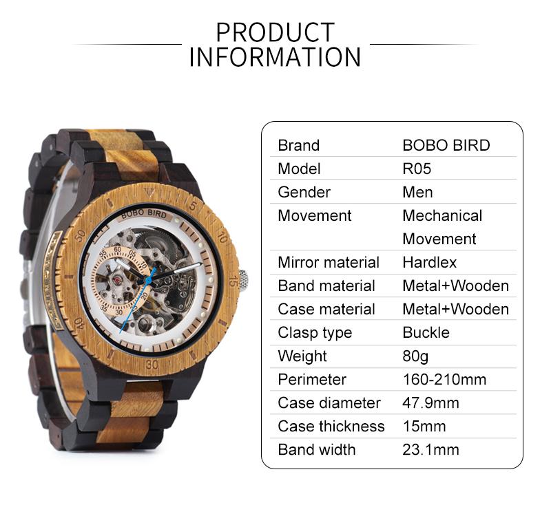 Reloj mecánico de madera caja de diseño Retro 5