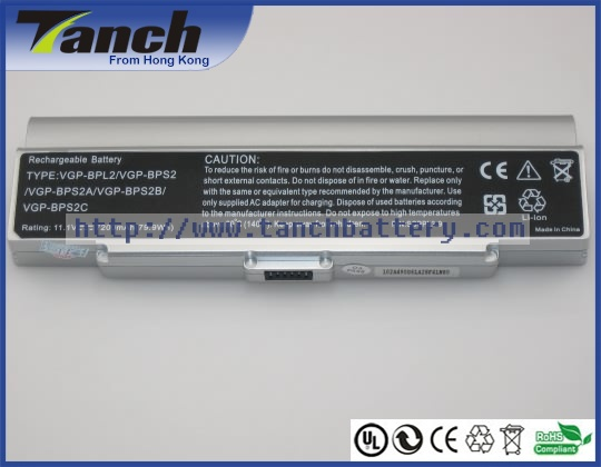 Laptop batteries for SONY VGP-BPS2A/S VAIO VGN-C190 VGN-C25G VGN-N130G/W VGN-C140G/B VGN-N350E/W 11.1V 9 cell