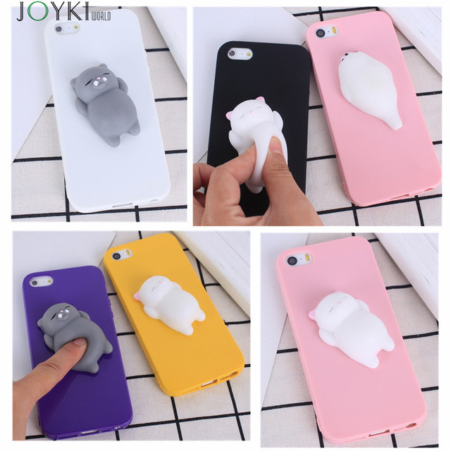Squishy Mobile phone Cases For iphone 7 7Plus Cute 3D Soft Lazy Cat Cartoon phone Back Cover Candy colors case for iphone 6 6s