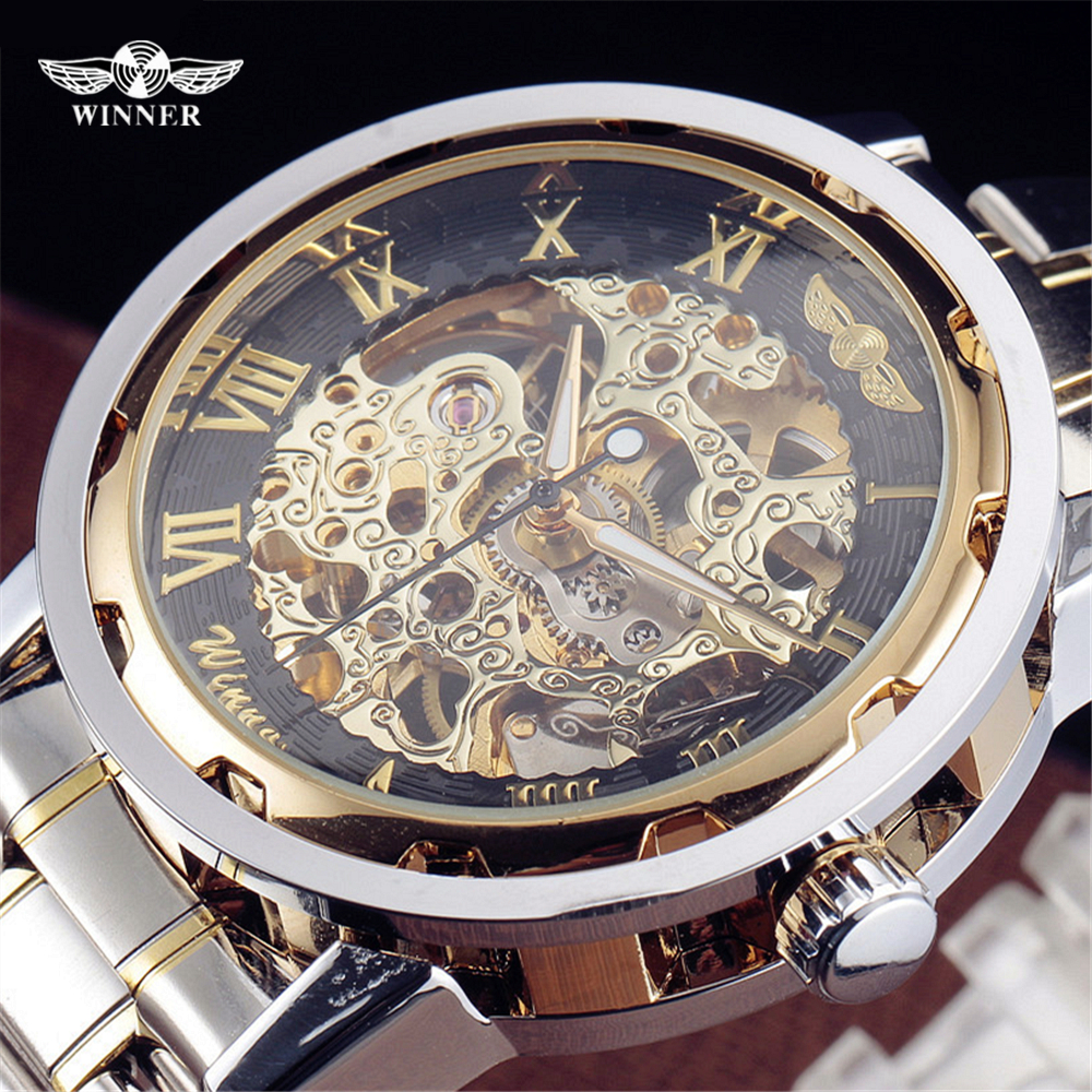 Winner Luxury Brand Sport Men Automatic Skeleton Watch Mechanical Military Watches Men Gold Silver full Steel Stainless Clock fashion men s brand sport watch stainless steel skeleton automatic mechanical watches men steampunk military clock male new