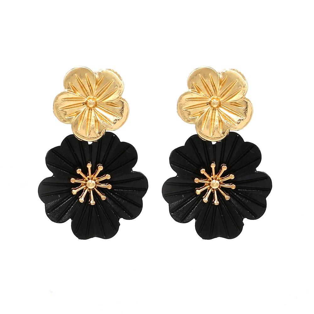 Black Flower Women Dangle Earring Gold Color Drop Earrings Statement Metal Indian Korean Jewelry Aretes Luxury Trendy 2019 MC009