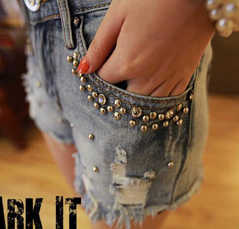 Летние джинсовые шорты с бисером, женские винтажные джинсовые шорты больших размеров S ~ 2XL, джинсовые шорты с кисточками, джинсовые шорты высокого качества