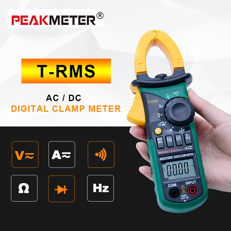 MASTECH MS2108S Digital AC DC Current Clamp Meter True RMS Multimeter Capacitance Frequency Inrush Current Tester VS MS2108 auto range handheld 3 3 4 digital multimeter mastech ms8239c ac dc voltage current capacitance frequency temperature tester