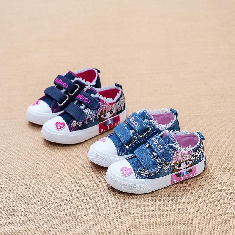 2017 Children canvas shoes low girls Sneakers denim Hand Painted Cartoon girl sports shoes toddle infantil infant School Shoes