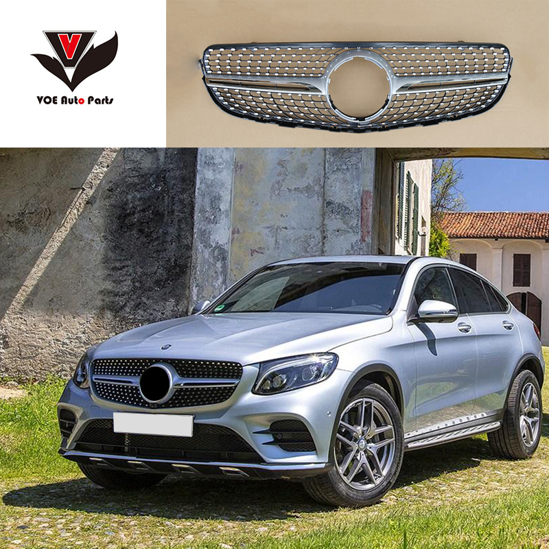 w253 diamond front racing grill grille for mercedes benz glc class w253 x253 glc200 glc250. Black Bedroom Furniture Sets. Home Design Ideas