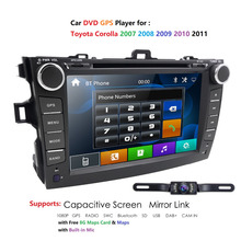 Voor Toyota Corolla 2007 2011 2 Din Auto Dvd Speler Met Gps Radio Stereo Swc Capacitieve Scherm Audio Usb multimedia Navigatie Bt