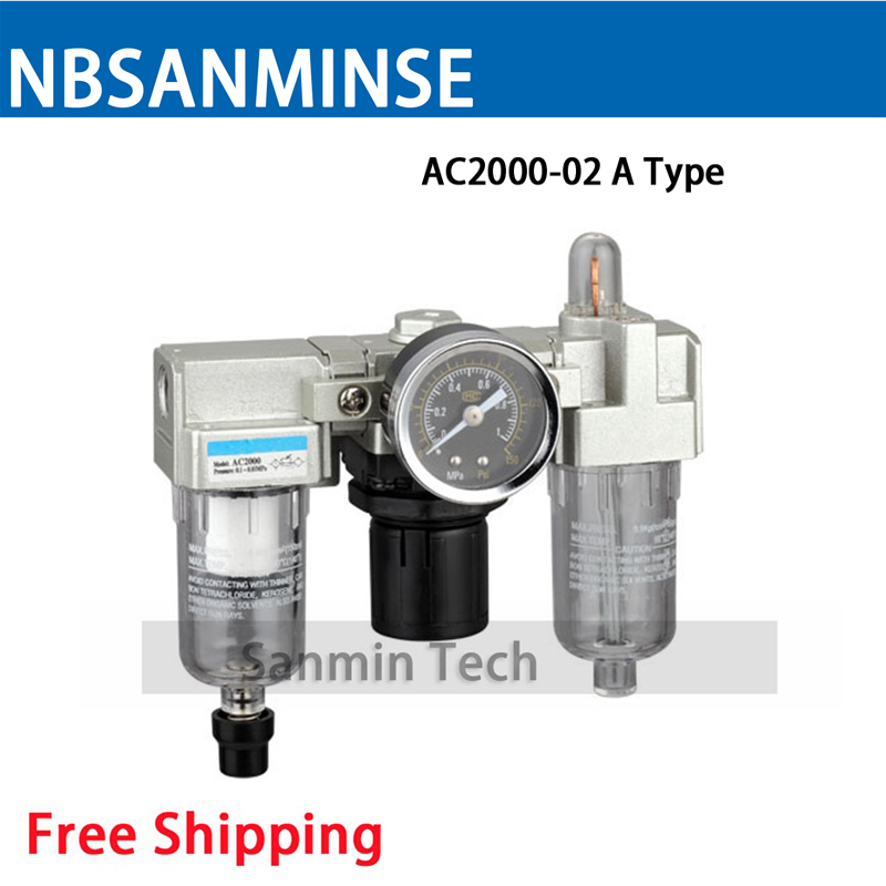 Air Preparation Units 1/8 1/4 3/8 1/2 3/4 1 AC 2000 Three Units Air Source Units SMC Type FRL Units Air Compressor Parts Sanmin free shipping ac2000 bc2000 three units air source units airtac type frl units air compressor filter regulator sanmin